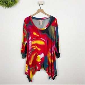 Philosophy Abstract Watercolor Shark Bite Tunic 2X